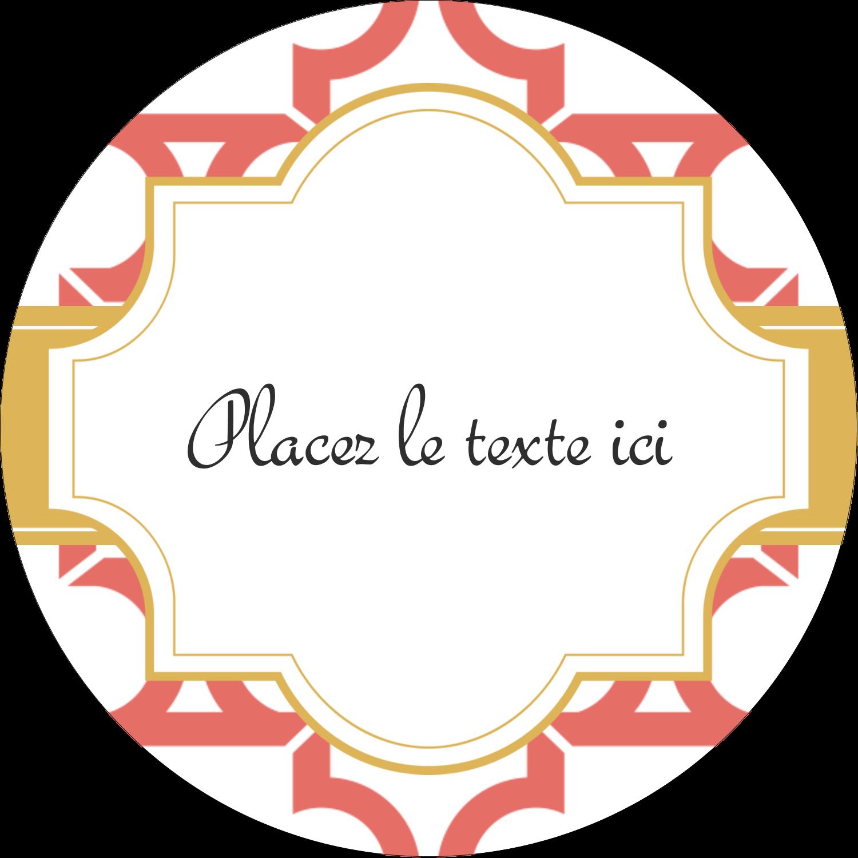 """2"""" Diameter Étiquettes rondes - Tuile marocaine saumon"""