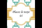 Tuile marocaine sarcelle Étiquettes carrées - gabarit prédéfini. <br/>Utilisez notre logiciel Avery Design & Print Online pour personnaliser facilement la conception.