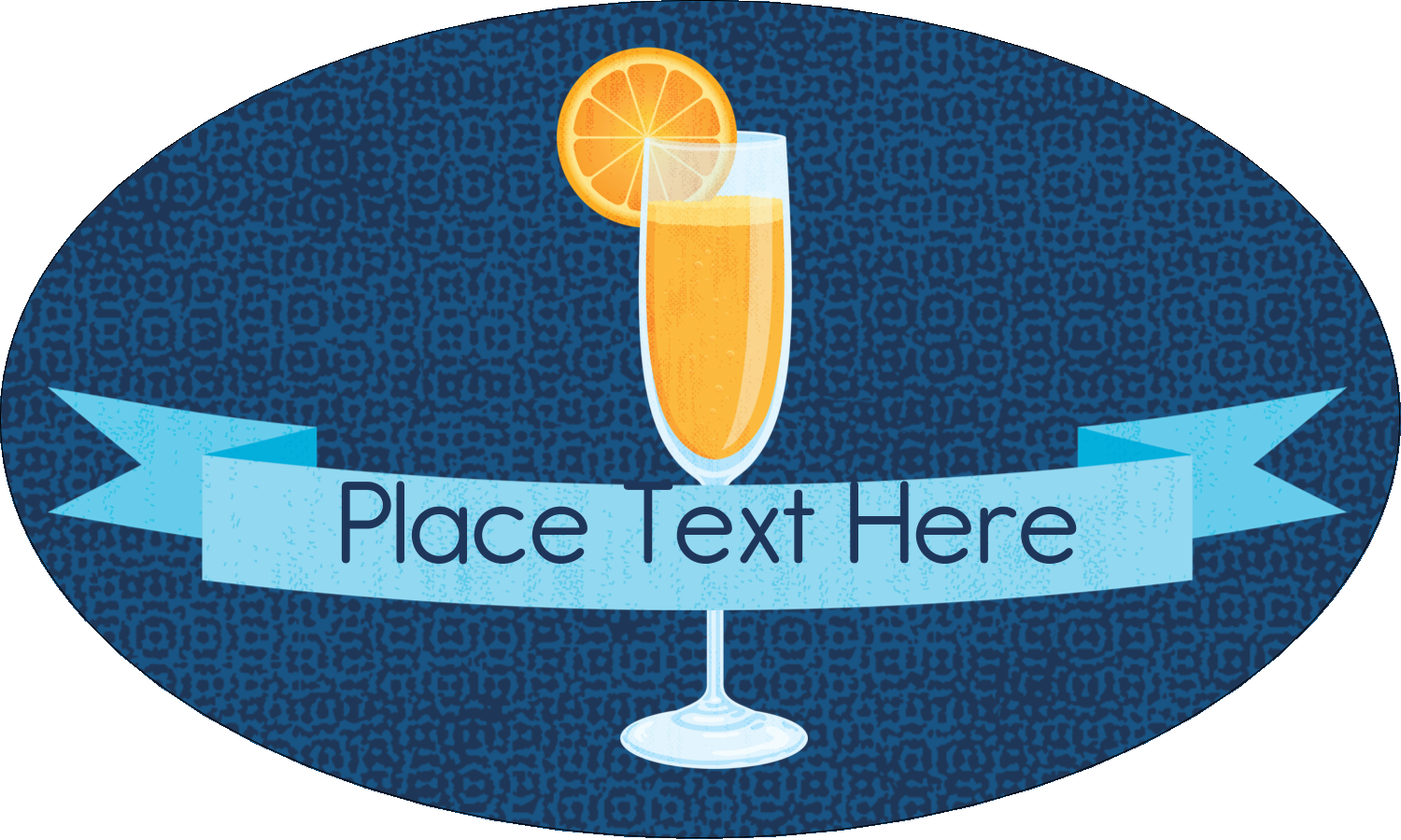 """1½"""" x 2½"""" Oval Glossy Label - Mimosa"""