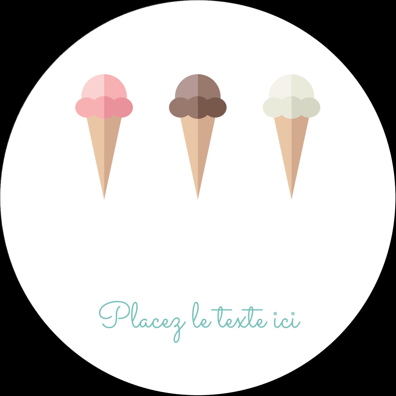 """4¾"""" x 3½"""" Étiquettes arrondies - Chariot à crème glacée"""