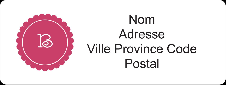 """1½"""" x 4"""" Étiquettes D'Adresse - Monogramme en chevron"""