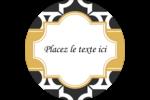 Tuile marocaine noire Étiquettes rondes - gabarit prédéfini. <br/>Utilisez notre logiciel Avery Design & Print Online pour personnaliser facilement la conception.