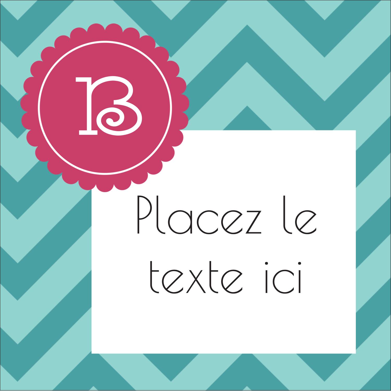 """1½"""" x 1½"""" Étiquettes carrées - Monogramme en chevron"""