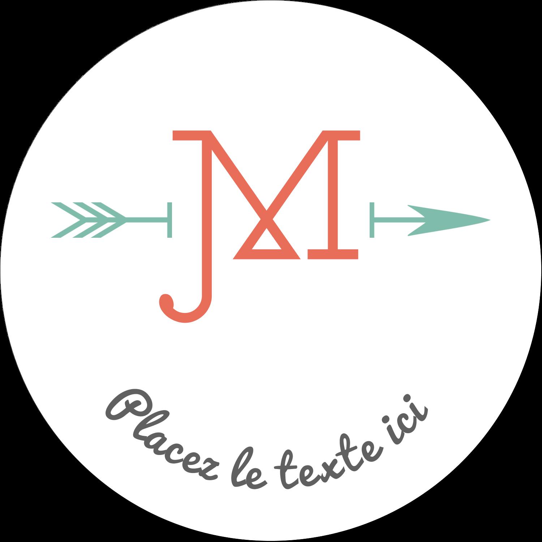 """2¼"""" x ¾"""" Étiquettes Voyantes - Monogramme"""
