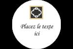 Tuile marocaine noire Étiquettes rondes gaufrées - gabarit prédéfini. <br/>Utilisez notre logiciel Avery Design & Print Online pour personnaliser facilement la conception.