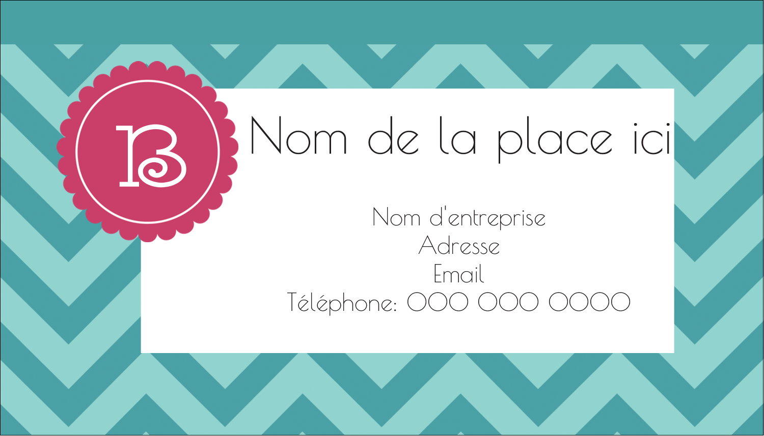 "3½"" x 2"" Carte d'affaire - Monogramme en chevron"