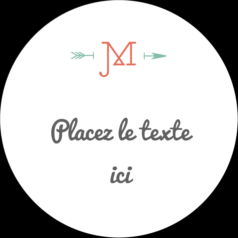 """3"""" Diameter Étiquettes rondes - Monogramme"""