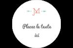 Monogramme Étiquettes rondes - gabarit prédéfini. <br/>Utilisez notre logiciel Avery Design & Print Online pour personnaliser facilement la conception.