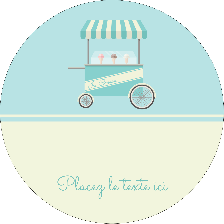 """3"""" Diameter Étiquettes rondes - Chariot à crème glacée"""