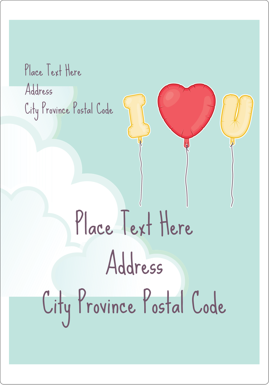 "5"" x 3½"" Shipping Label - Valentine Balloon Love"