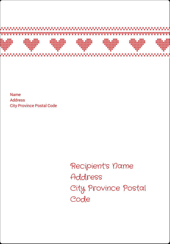 "5"" x 3½"" Shipping Label - Valentine Cross Stitch"