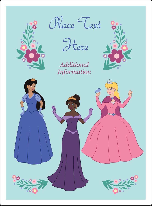"4¾"" x 3½"" Rectangular Label - Princesses"