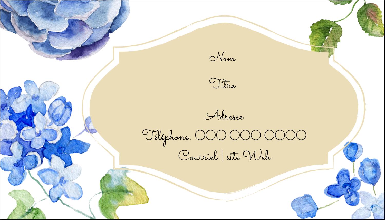 """3½"""" x 2"""" Carte d'affaire - Bleu floral"""