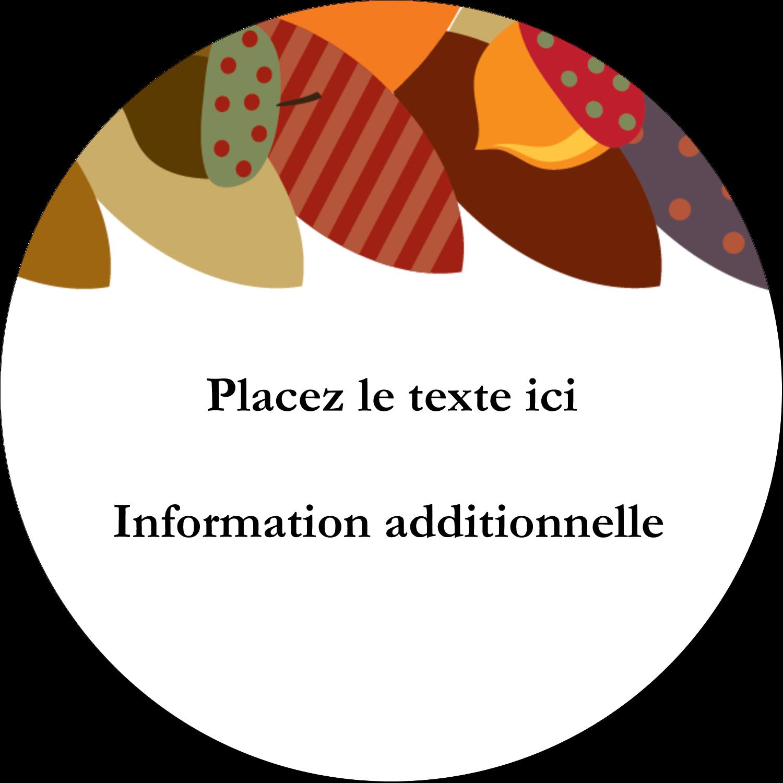 """3"""" Diameter Étiquettes rondes - Couronne de glands"""