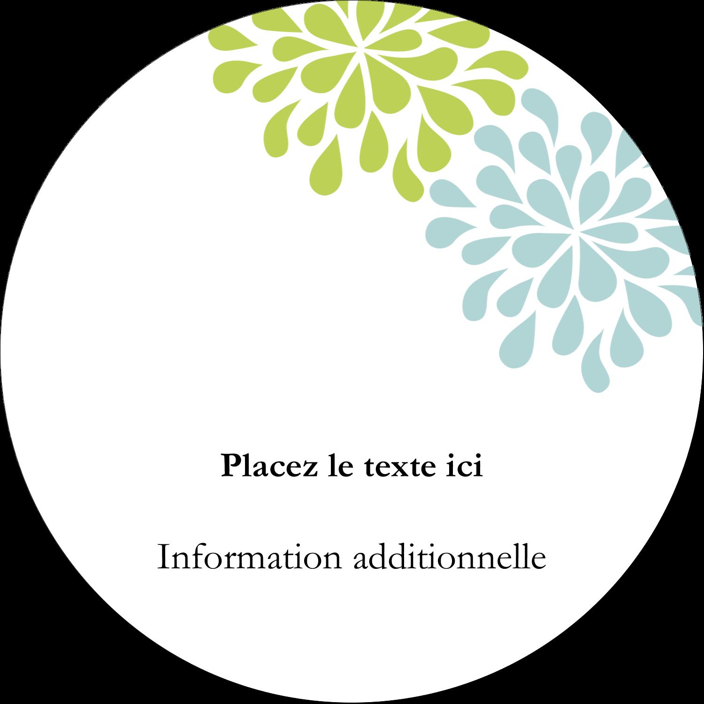"""3"""" Diameter Étiquettes rondes - Fleurs bleues et vertes"""