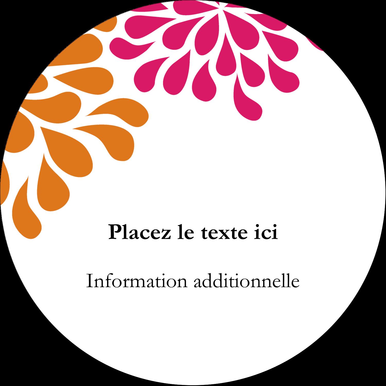 """3"""" Diameter Étiquettes rondes - Fête prénuptiale en rose et orange"""