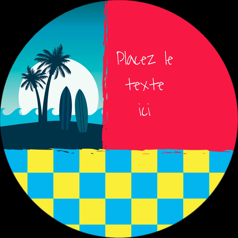 """3"""" Diameter Étiquettes rondes - Surf tropical"""