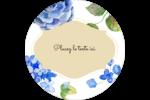 Bleu floral  Étiquettes rondes - gabarit prédéfini. <br/>Utilisez notre logiciel Avery Design & Print Online pour personnaliser facilement la conception.