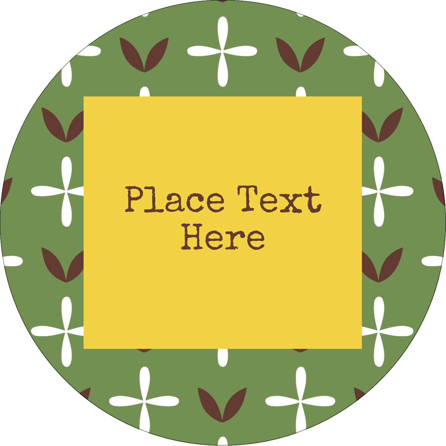 "3"" Round Label - Geometric Green Blossoms"