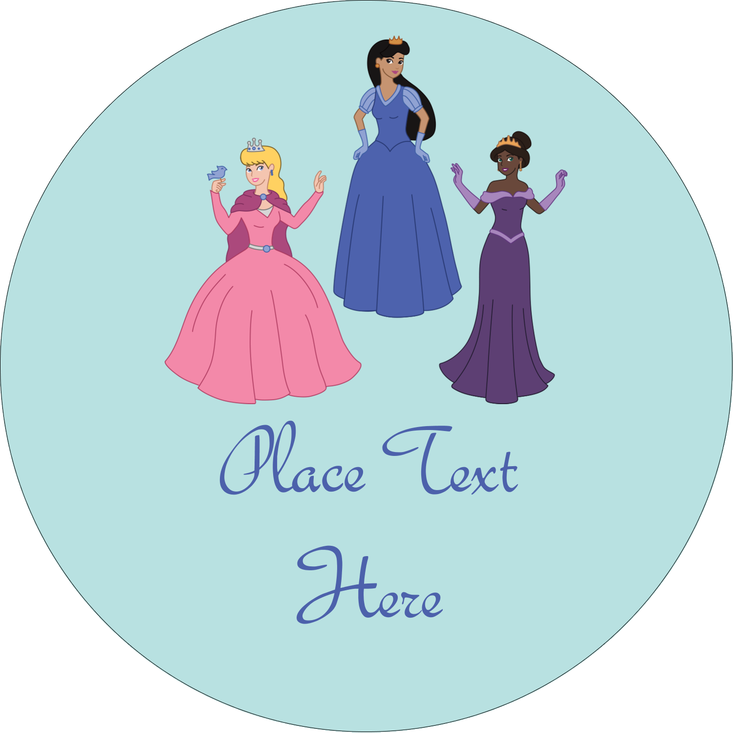 "3"" Round Label - Princesses"