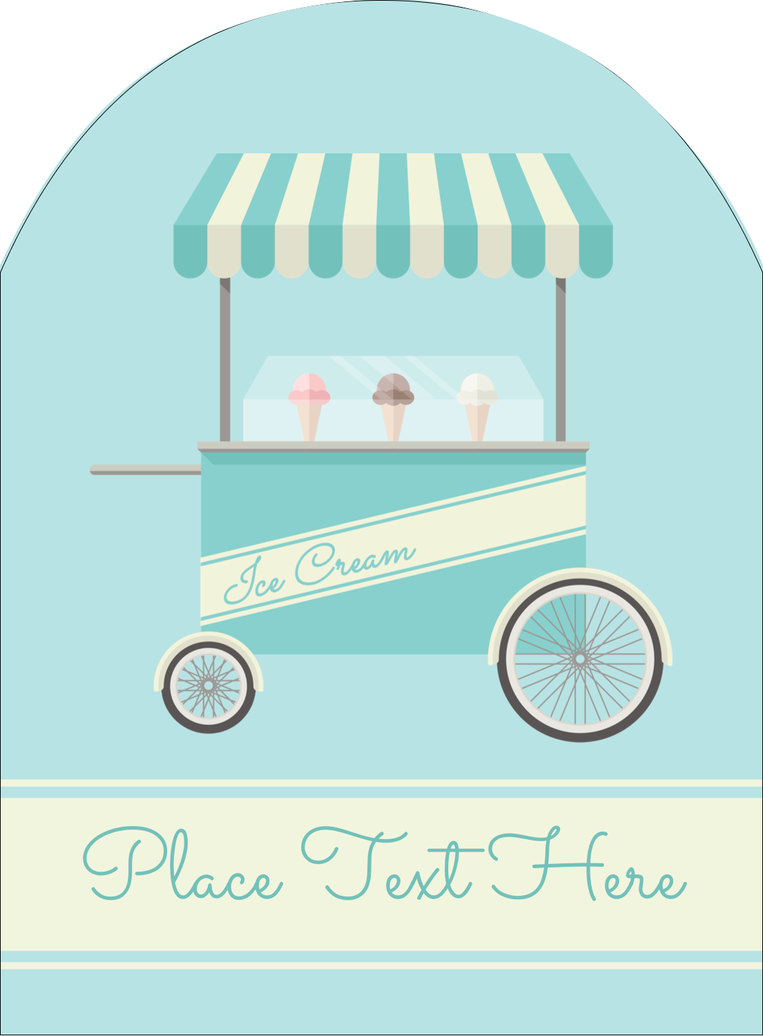 "4¾"" x 3½"" Arched Label - Ice Cream Cart"