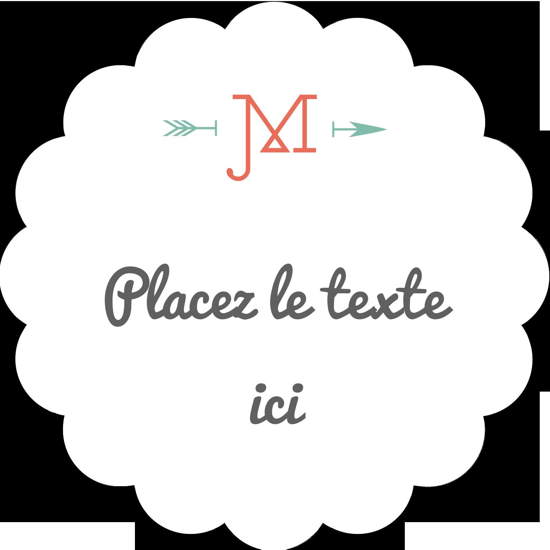 """2"""" Diameter Étiquettes festonnées - Monogramme"""