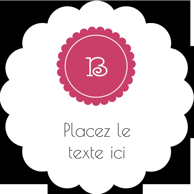 """2"""" Diameter Étiquettes festonnées - Monogramme en chevron"""