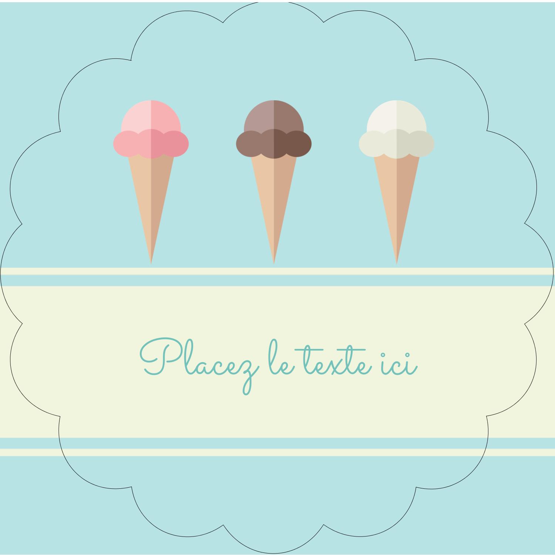 """2½"""" Diameter Étiquettes rondes - Chariot à crème glacée"""