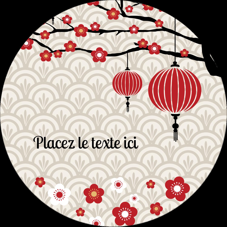 """3"""" Diameter Étiquettes rondes - Nouvel An chinois"""