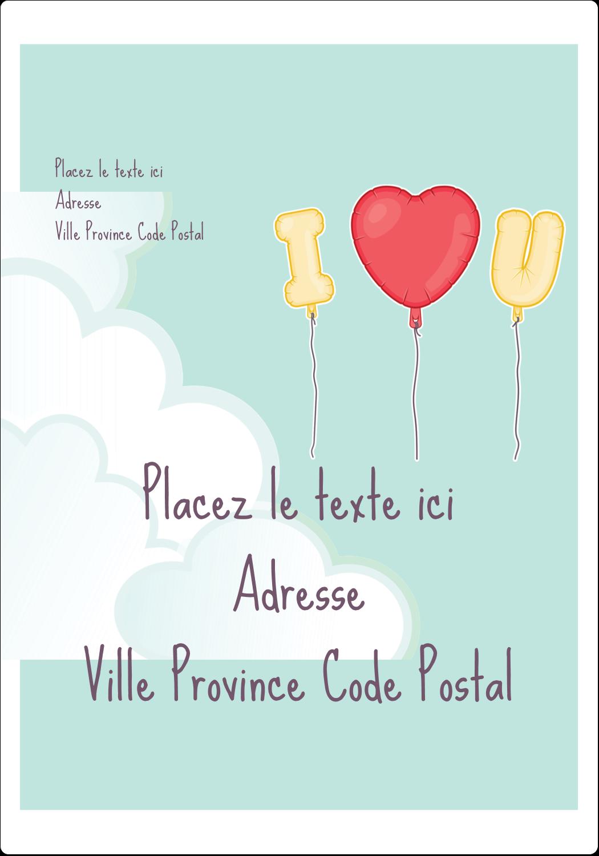 """⅔"""" x 1¾"""" Étiquettes D'Adresse - Ballon d'amour de Saint-Valentin"""