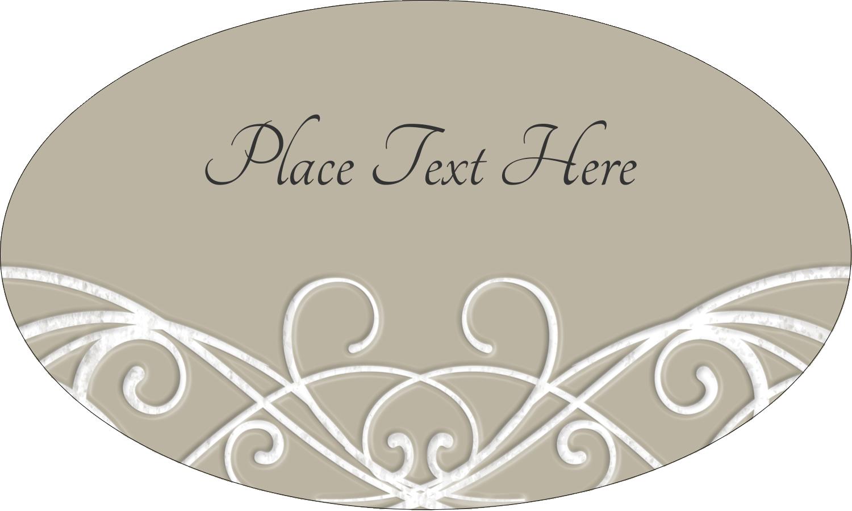 "1½"" x 2½"" Oval Glossy Label - Letterpress Elegant"