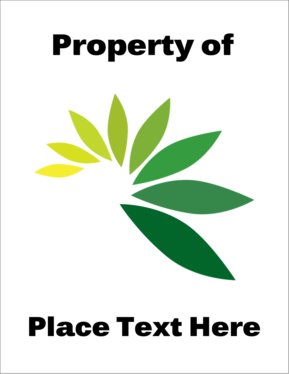 "8½"" x 11"" ID Label - Industrial Property Of"