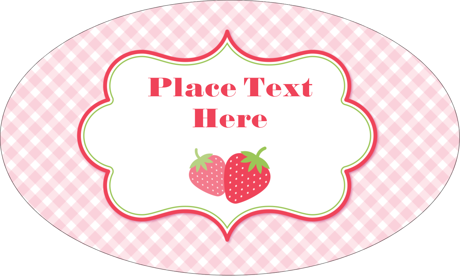 """1½"""" x 2½"""" Oval Glossy Label - Strawberry Red Green"""