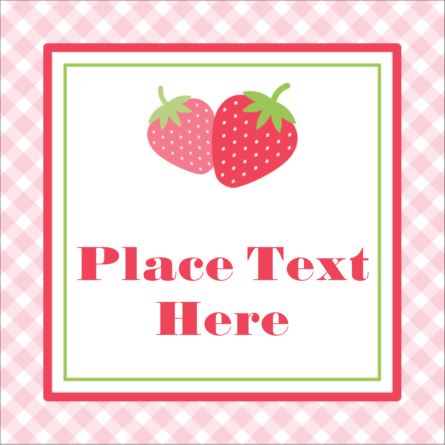 """1½"""" x 1½"""" Square Label - Strawberry Red Green"""