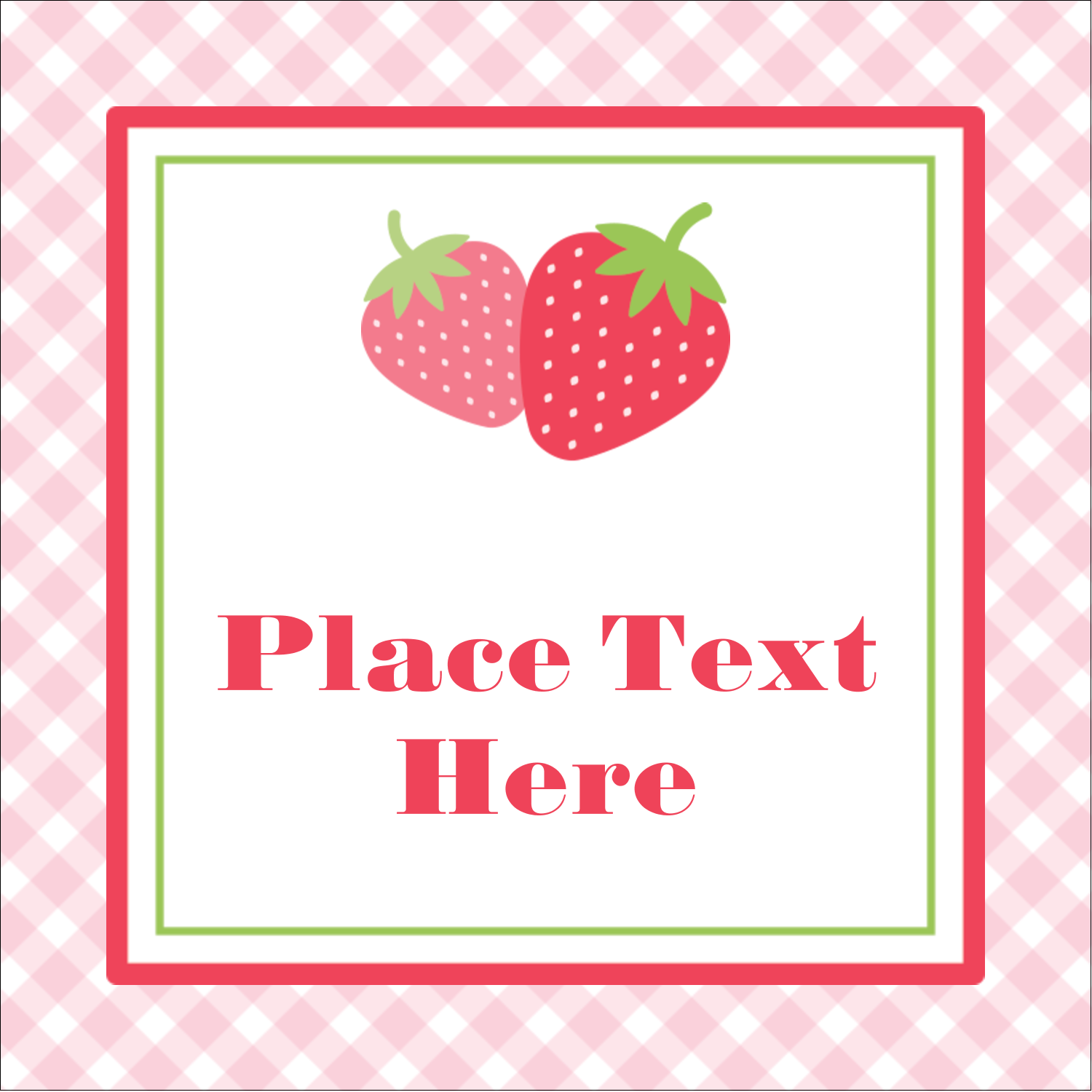 "2"" x 2"" Sqaure Label - Strawberry Red Green"