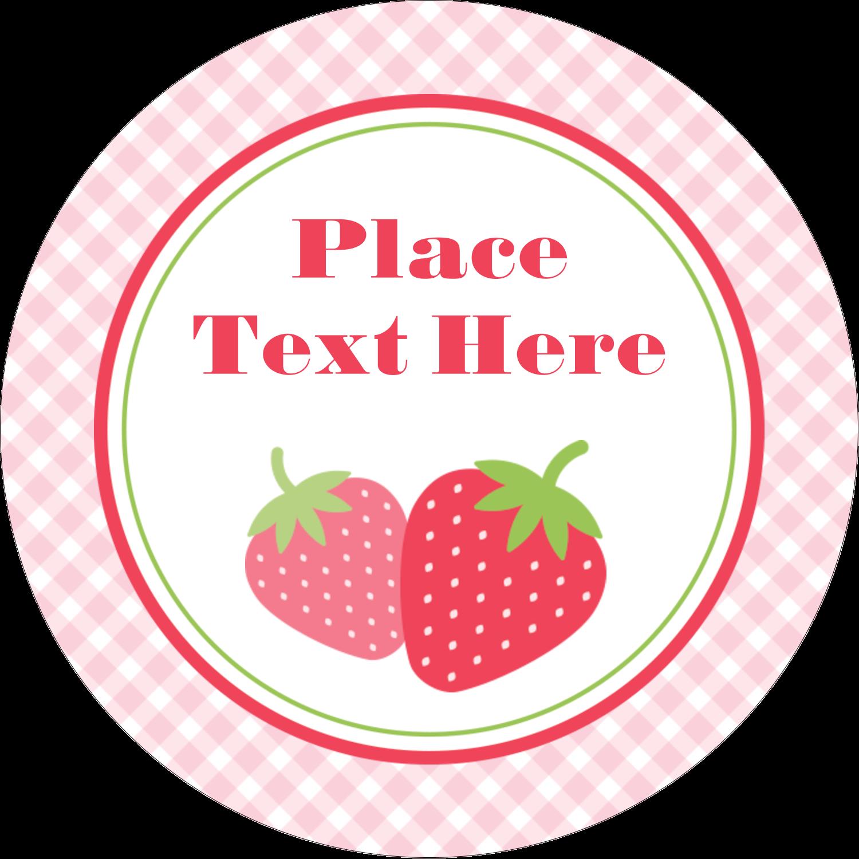 "2"" Round Label - Strawberry Red Green"