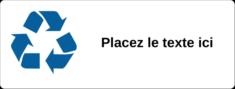 """2⅝"""" x 1"""" Étiquettes Voyantes - Recyclage industriel bleu"""