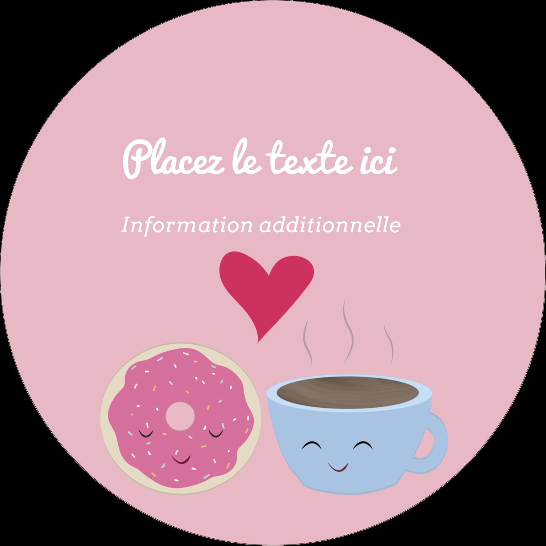 """3"""" x 2¼"""" Étiquettes arrondies - Amours, délices et café"""