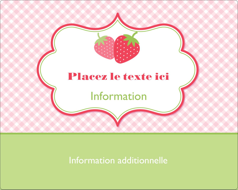 """2"""" Diameter Étiquettes rondes gaufrées - Fraise en rouge et vert"""