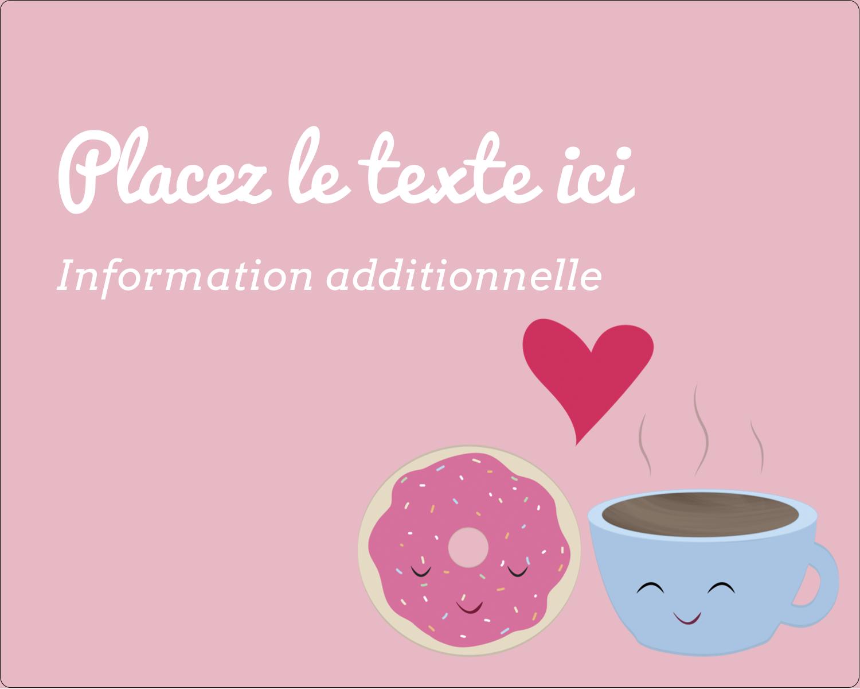 """2"""" Diameter Étiquettes rondes gaufrées - Amours, délices et café"""