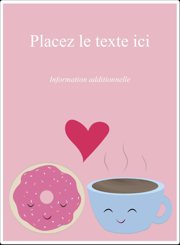 """2½"""" Diameter Étiquettes rondes - Amours, délices et café"""