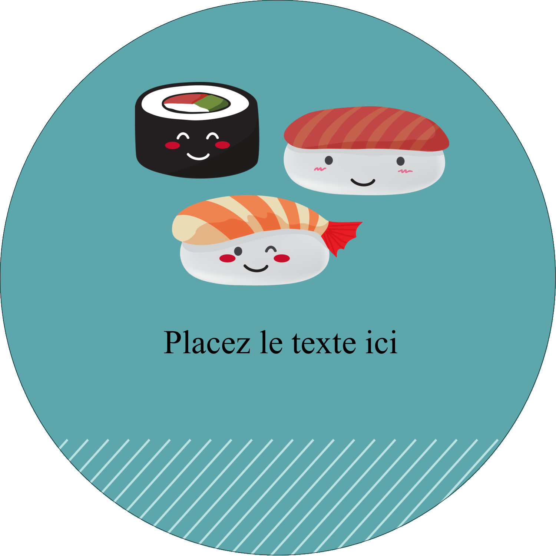 """3"""" Diameter Étiquettes rondes - Émoticônes de sushis"""
