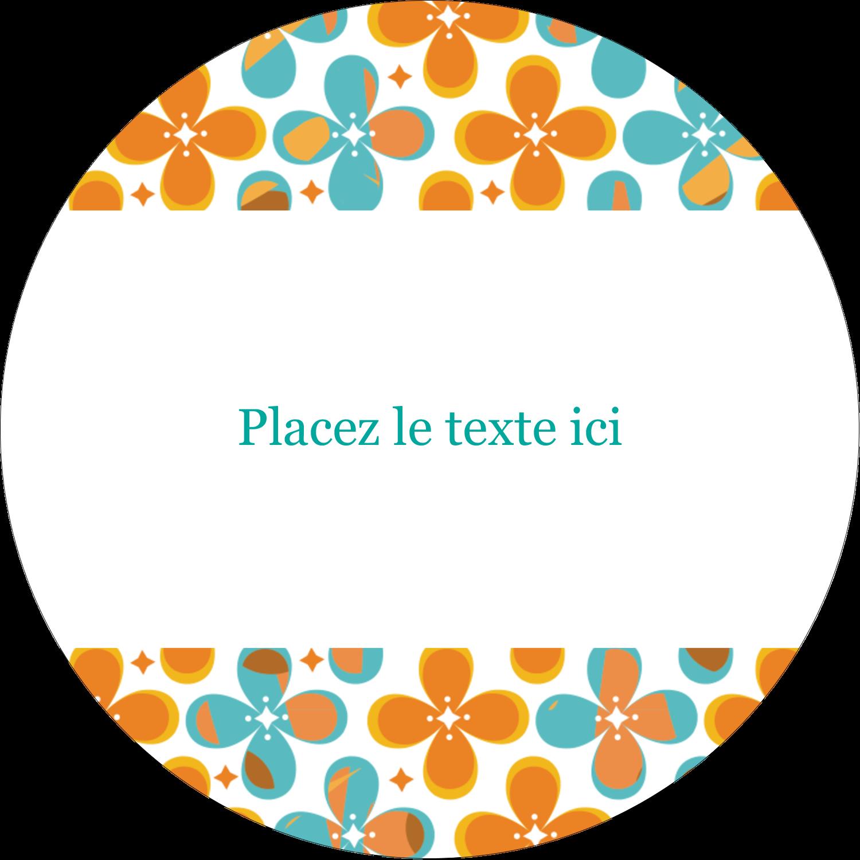 """3"""" Diameter Étiquettes rondes - Motif fleuri"""