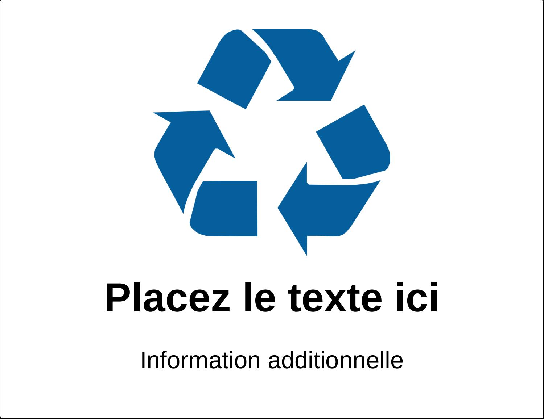 """4¾"""" x 7¾"""" Étiquette Industrielles - Recyclage industriel bleu"""