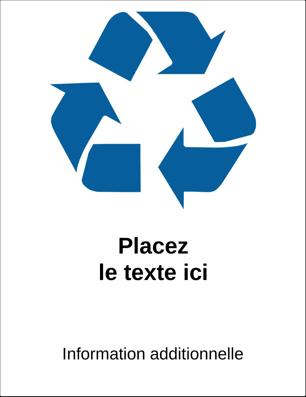 """8½"""" x 11"""" Étiquette Industrielles - Recyclage industriel bleu"""