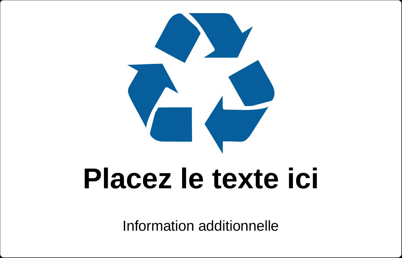 """3½"""" x 4½"""" Étiquette Industrielles - Recyclage industriel bleu"""