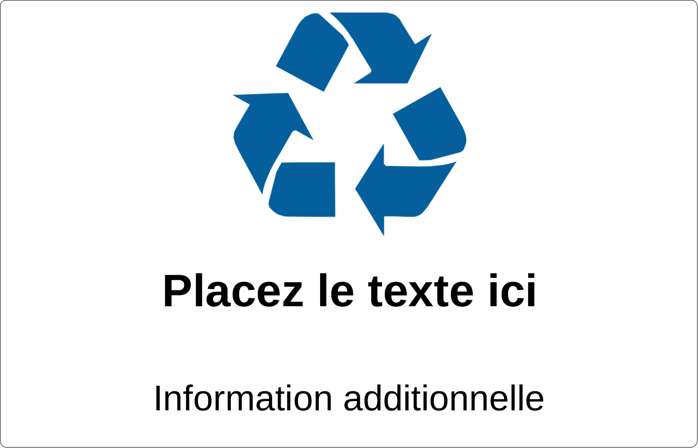"""7½"""" x 5"""" Étiquette Industrielles - Recyclage industriel bleu"""