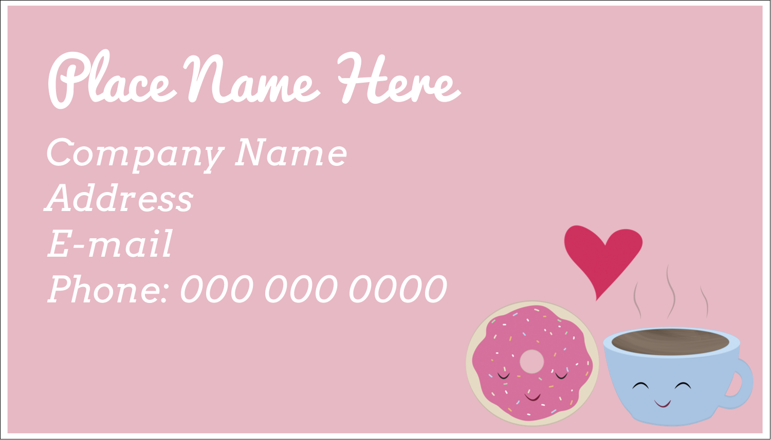 "2"" x 3½"" Business Card - Sweet Coffee Heart"