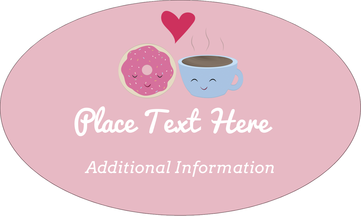 "1½"" x 2½"" Oval Glossy Label - Sweet Coffee Heart"