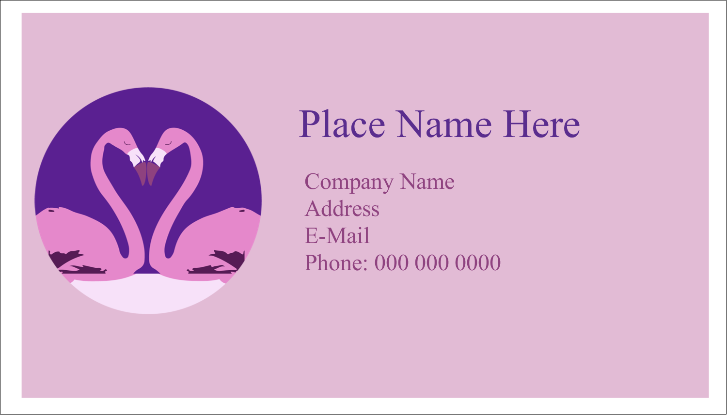 "2"" x 3½"" Business Card - Flamingo Heart"